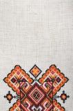 Elemento bordado multicolor en los hilos de lino del algodón imágenes de archivo libres de regalías