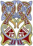 Elemento celta detalhado do projeto com pássaros ilustração royalty free
