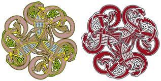 Elemento celta do projeto com pássaros e animais Fotografia de Stock Royalty Free
