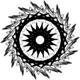 Elemento circolare monocromatico irritabile Motivo angolare in bianco e nero, Immagine Stock
