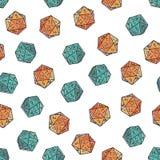 Elemento colorato disegnato a mano stilizzato senza cuciture di struttura del modello dell'icosaedro su fondo bianco Fotografia Stock