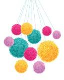 Elemento colorido de Pom Poms Bunch Hanging Decorative del vector Grande para el sitio del cuarto de niños, tarjetas hechas a man Fotografía de archivo libre de regalías