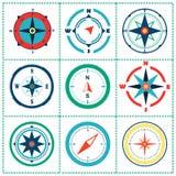 Elemento cor-de-rosa do projeto do vetor das cores do vento do compasso Imagem de Stock