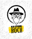 Elemento creativo del diseño de la roca de la escuela vieja Gafas de sol elegantes de With Beard In del músico que llevan el somb Fotos de archivo
