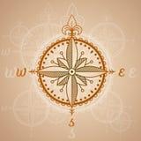 Elemento d'annata delle rose dei venti, dell'icona e di progettazione Etichetta nautica di vettore illustrazione di stock