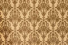 Elemento da decoração interior da casa teste padrão do Brown-café de papéis de parede barrocos do estilo fotos de stock royalty free