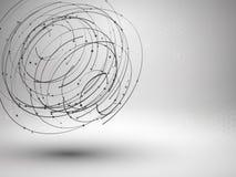 Elemento da malha de Wireframe Formulário abstrato do redemoinho com linhas e os pontos conectados ilustração stock