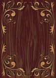 Elemento da planta e fundo da textura da madeira Imagens de Stock Royalty Free