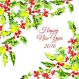 Elemento de canto decorativo do Natal com azevinho Imagens de Stock Royalty Free