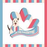 Elemento de costura del diseño de la tarjeta del día de San Valentín de la tela del vector Fotos de archivo