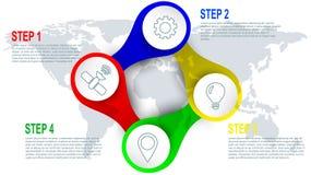 Elemento de Infographics de cuatro pasos para el diseño web Imagen de archivo libre de regalías