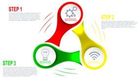 Elemento de Infographics de 3 pasos en forma del hilandero Imágenes de archivo libres de regalías