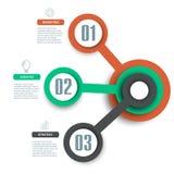 Elemento de Infographics de 3 pasos para el diagrama, carta, vector del diseño web Fotos de archivo