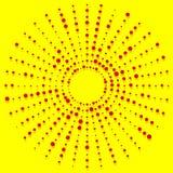 Elemento de intervalo mínimo radial dos pontos aleatórios, vermelho do pop art, cores amarelas Fotos de Stock