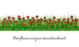 Elemento de la decoración de Rose Flowers y de la hierba ilustración del vector