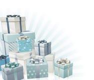 Elemento de la esquina de los regalos de la Navidad Fotografía de archivo libre de regalías