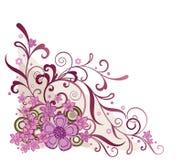 Elemento de la esquina floral rosado del diseño Fotos de archivo