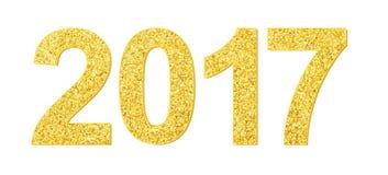 Elemento de la Feliz Año Nuevo de la Feliz Navidad de la textura 2017 del brillo del oro Imagen de archivo