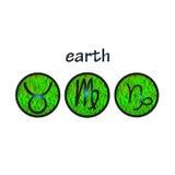 Elemento de la tierra de los símbolos del zodiaco Fotos de archivo libres de regalías