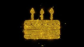 Elemento de la vela del feliz cumpleaños escrito con los fuegos artificiales de oro de las chispas de las partículas