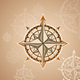 Elemento de las rosas de compás del vintage, del icono y del diseño Etiqueta náutica del vector Imagen de archivo