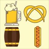 Elemento de Oktoberfest Grupo de vidro de cerveja, tambor, ilustração lisa do hotdog Grupo simples do plano o mais oktoberfest e  ilustração royalty free