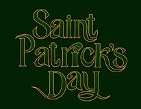 Elemento de rotulação dourado dos cumprimentos do dia do St Patricks no fundo verde ilustração royalty free