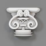 Elemento decorativo architettonico su un fondo grigio 3d rendono Fotografie Stock