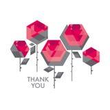 Elemento decorativo di progettazione del fiore rosa del poligono di concetto geometry illustrazione di stock
