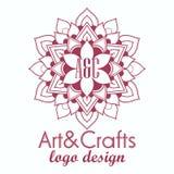 Elemento decorativo do logotype étnico Mão desenhada Foto de Stock Royalty Free