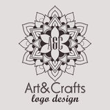 Elemento decorativo do logotype étnico Mão desenhada Fotos de Stock Royalty Free