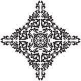 Elemento decorativo floral abstracto en illustr negro del vector del color stock de ilustración
