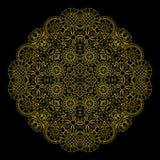 Elemento decorativo redondo linear del oro floral Imagenes de archivo
