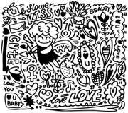 Elemento del amor de la historieta del drenaje de la mano Imagen de archivo libre de regalías