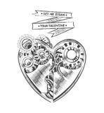 Elemento del arte del corazón de la tarjeta del día de San Valentín del dibujo del vector del inconformista de Steampunk para la  Fotos de archivo