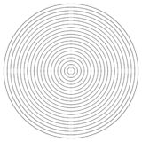 Elemento del círculo concéntrico Anillo blanco y negro del color Ejemplo abstracto del vector para la onda acústica, gráfico mono stock de ilustración