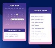 Elemento del calendario UI Calendario App con per fare lista e progettazione di mansioni UI UX per il telefono cellulare Immagini Stock Libere da Diritti