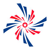 Elemento del diseño, bandera de los E.E.U.U. del icono del vector Logotipo rayado Ejemplo plano del vector Imágenes de archivo libres de regalías
