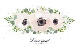 Elemento del diseño de la acuarela del vector del ramo de la flor Melocotón, whi rosado stock de ilustración