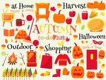Elemento del diseño de la lista del cubo del otoño Foto de archivo