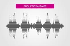 Elemento del diseño de la música de la onda acústica en el fondo blanco Foto de archivo