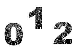 Elemento del diseño del número con la textura floral (0-1-2) Foto de archivo