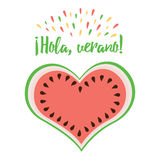 Elemento del diseño del verano del vector, sandía, verano de la frase hola, título en lengua española Fotografía de archivo libre de regalías