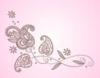 Elemento del diseño floral de la alheña stock de ilustración