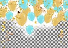 Elemento del diseño del fondo del jefe de los globos del birthd de lujo feliz stock de ilustración