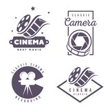 Elemento del diseño del logotipo del emblema de las etiquetas del cine aislado en el fondo blanco Imágenes de archivo libres de regalías