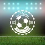 Elemento del diseño de la insignia de la tipografía del fútbol del fútbol Imagenes de archivo