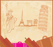 Elemento del diseño del viaje con diversos monumentos Imagen de archivo