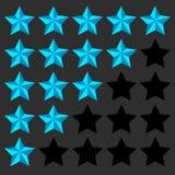 Elemento del grado de la estrella grado de 5 puntos Biselado, iconos de la estrella 3d uso ilustración del vector