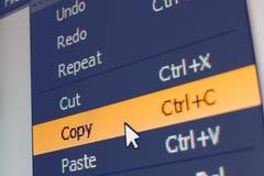 Elemento del menú del software con comando de copia Foto de archivo